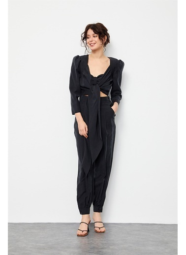 Setre Orkide Crop Top Pantolon Üç Parça Takım Siyah